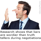 Research shows that liars are wordier than truth tellers during negotiations