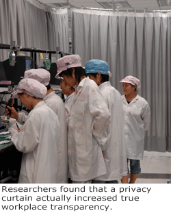 Researchers found that a privacy curtain actually increased true workplace transparency.