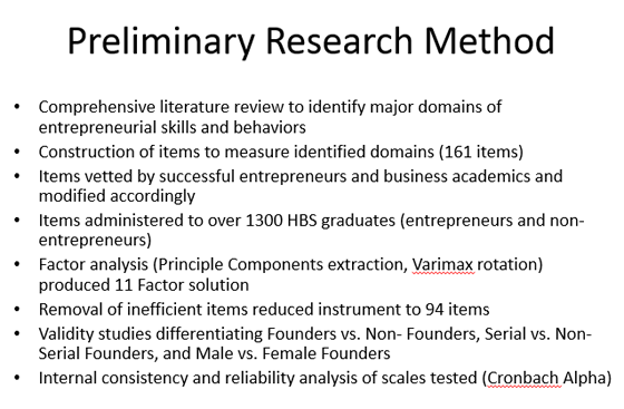 Skills And Behaviors That Make Entrepreneurs Successful  Hbs  Chart  Preliminary Research Method