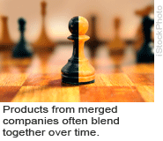 Products from merged companies often blend together over time.
