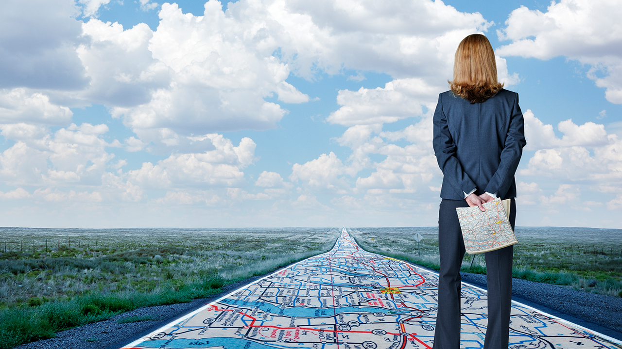 Business person surveys roadmap.
